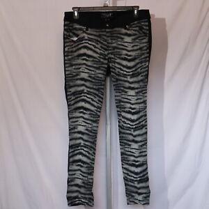 TRIPP Black Gray Zebra Tiger Front Skinny Stretch Jeans 16