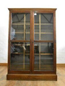 Antique vintage large oak glazed bookcase - display cabinet - trophy case