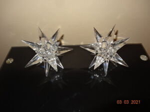 2 Crystal Star candle holders