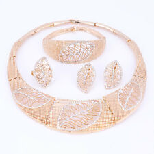 Dubai Wedding Fashion Jewelry Set For Women Leaves Design Crystal Necklace Set