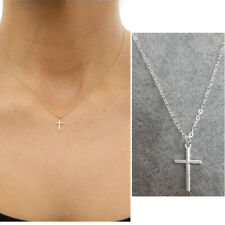 Simple Small Cross Necklace Pendant Women Jesus Clavicle Chain Jewelry Gift