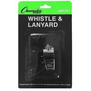Champion Sports BP401 Coach / Teacher All-Sport METAL Whistle with Black Lanyard