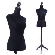 Female Mannequin Torso Clothing Display W/ Black Tripod Stand New Black