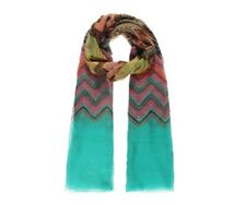 Ladies Long Scarf Vibrant Green Pink Brown Yellow Cream Zig Zag Pattern Scarve
