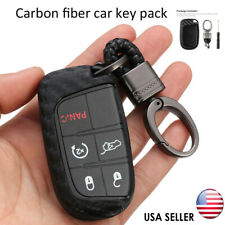 Carbon Fiber Key Fob Chain Fit For Jeep Dodge Chrysler Accessories Case Ring