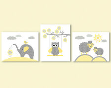 3 prints, art for kids, boy, girl nursery, elephant, owl, sheep, yellow and grey