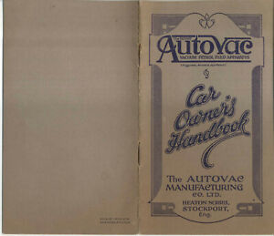 Autovac Vacuum Petrol Feed Apparatus original Handbook Not dated