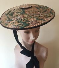 Fine Antique 18th Century Bergère Straw Hat Shepherdess Embroidery Silk Flowers