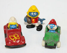 3 Vtg Smurf Figures Ertl Vehicle Car Smurfette Papa Smurf Football Player Peyo