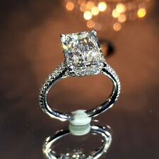 4.48 TCW Radiant Cut Diamond Engagement Ring Hidden Halo 14k White Gold Finish