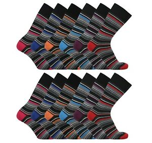 6 Pairs Mens Stripe Colourful Heel Toe Everyday Socks Casual Sock Size 6-11
