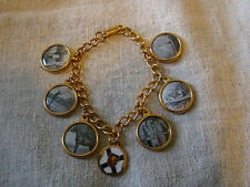 VTG Gold Tone Charm Bracelet w/ Black and White Photos of Outdoor Sports 21520