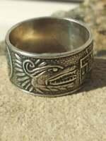 Taxco Ring 925 Multi Motiff Quetzalcoatl Pakal Tlaloc Aztec Calendar Pyramid