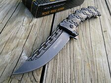 "8.25"" TAC FORCE CHAIN LINK STONE WASH SPRING ASSISTED FOLDING POCKET KNIFE"