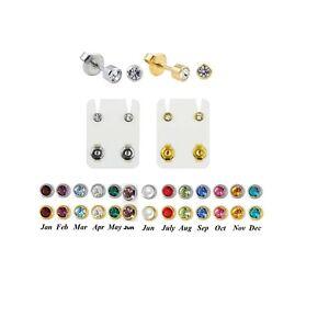 Stainless Birthstone Stud Earrings Hypoallergenic 4mm Bezel Set Ear Piercing