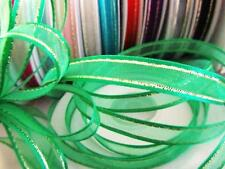 "25 yard Spool/Roll 3/8"" Organza Ribbon Gold Trim/Sheer/Christmas Craft R11-Green"