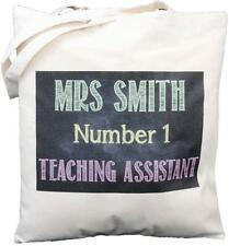 PERSONALISED - NO 1 TEACHING ASSISTANT - BLACKBOARD DESIGN - COTTON SHOULDER BAG