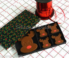 4+1 Rudolph / Reindeer Chocolate Silicone Mould tin cake topper crayon wax