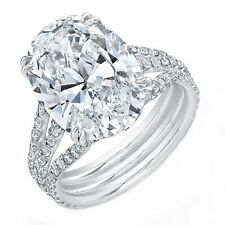 18kt G/H SI 3.00ct Oval Cut Split Shank Diamond Engagement Ring Certified