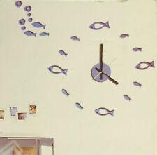 Hommy DIY Modern Room Interior Decoration Wall Clock - Fish - Blue