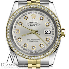 Ladies Rolex 31mm Datejust Watch 2 Tone Silver String Diamond Accent Dial