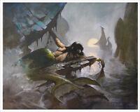 MERMAID SHIP! Oceanic Mike Hoffman Art Print SIGNED!