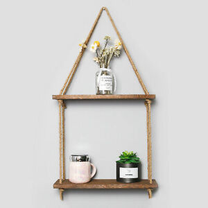 Rustic Wooden Hanging Rope Shelf 2 Tiers Wall Mounted Floating Storage Shelf