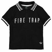 Firetrap Polo Shirt Infant Boys Black Tops T-Shirt Outerwear
