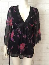 Lily White Ladies Embellished Floral Blouse Size 12