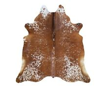 New Brazilian Cowhide Rug Leather BROWN SALT AND PEPPER 6'x7' Cow Hide