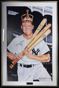"""Mickey Mantle Autographed Signed Framed 28x41 Poster Photo """"1956"""" PSA/DNA K43076"""