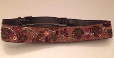 Vintage Women's Brown Leather Belt with Beads and Stitching Fits 32-36""
