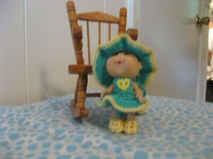 """AQUA & YELLOW  HEART SUNDRESS FOR MINI CABBAGE PATCH OR SIMILAR SIZED 3"""" DOLL"""
