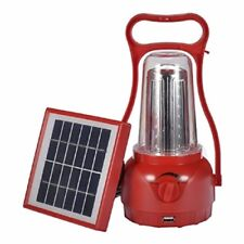Solar LED Rechargeable Camping Light Hurricane Lamp (Red)