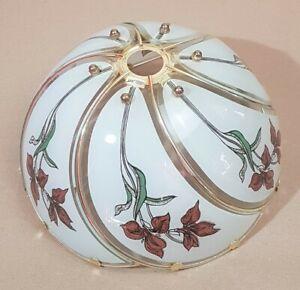 BRASS FRAMED LAMP/LIGHT SHADE WITH WHITE GLASS PANELS