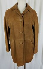 Vintage Suede Brushed Leather Deep Pile Fur Zip Out Liner Coat Womens M 50s 60s