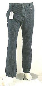 Pantaloni Uomo Misto Lino Jeans ENERGIE B788 Righe Sottili Blu Tg 33