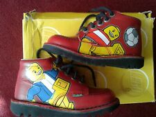 RED LEATHER LEGO KICKERS, SIZE 10 UK, EU 28, NEW IN BOX