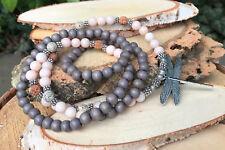 Mala Kette 108 Perlen Libelle Jade Holz Rudraksha Lotussamen Lotus Gebetskette