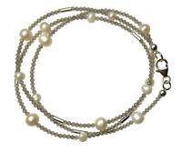 MONDSTEIN GRAU Wickel-Armband 925 Silber Armkette D899