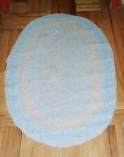 """Silver GRAY & Light BLUE- BRAIDED RUG, Oval: 31"""" x 49"""", Cottons"""