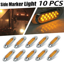 "10x 6-1/2"" Amber Led Oval Clearance Side Marker Light 16 Diodes For Freightliner"