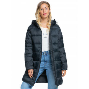 SALE - NEW - ROXY WOMENS CREST OF THE WAVE HOODED PUFFER JACKET Anthracite