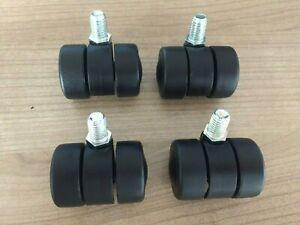 Set 4pcs – 35mm twin wheel furniture castors, 10mm x 15mm threaded stem fitting.