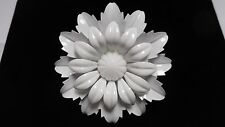 VINTAGE ENAMEL FLOWER pin / brooch ALL WHITE   WOW VERY COOL