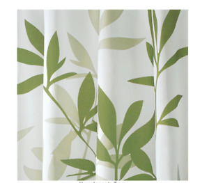 interDesign Shower Curtain in White with Green Leaves