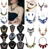 Fashion Women Crystal Choker Pendant Statement Bib Necklace Earrings Jewelry Set
