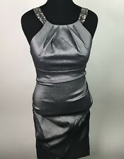 NWT Xscape Plus Size Cocktail Dress Bejeweled Ruched Silver MSRP $179 Sz 14 AG16