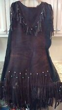 Native American Indian Leather Fringe Powwow Dress Outfit Size Cow Buck