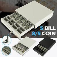 """16"""" 5 Bill 5/8 Coin Cash Register Drawer Money Box w/Lock Storage White/Black"""